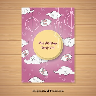 Cartaz do festival do outono do meio com a lua no céu