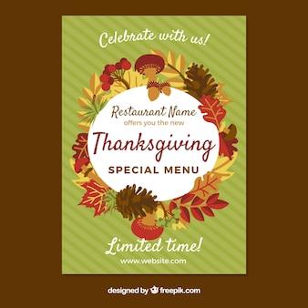 Cartaz do menu de Ação de Graças