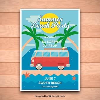 Cartaz do partido da praia do verão com camionete