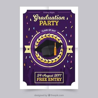 Cartaz do partido de graduação com confetes