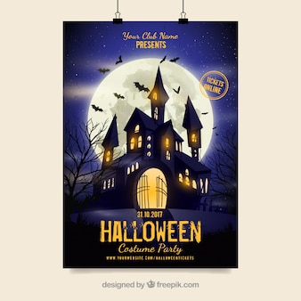 Cartaz do partido de Halloween com castelo