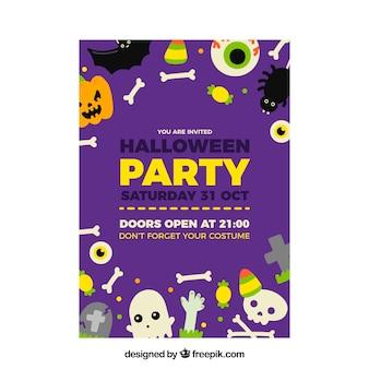 Cartaz do partido de Halloween com elementos engraçados