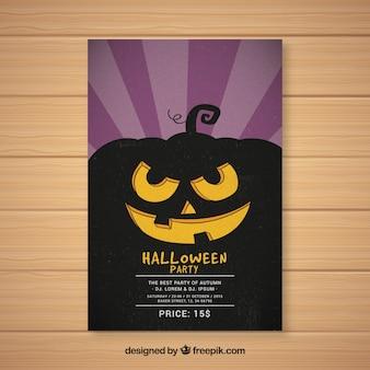Cartaz do partido de Halloween com silhueta de abóbora