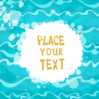 Cartaz dos desenhos animados no fundo da água azul brilhante com ilustração ondas Vector