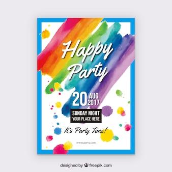 Cartaz feliz da festa de aniversário da aguarela