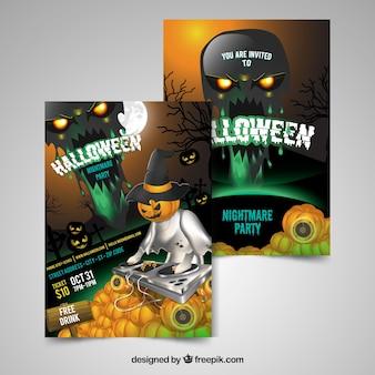 Cartazes do partido de Halloween com abóboras