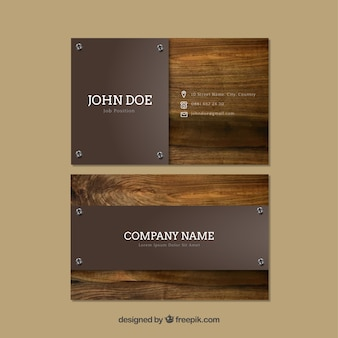 Cartões de visita com fundo de madeira