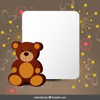 Cartão bonito com urso de peluche