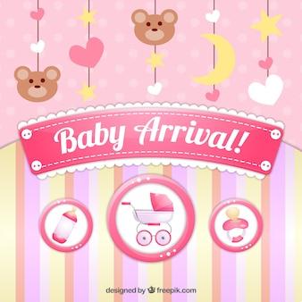 Cartão bonito da chegada do bebê com decoração