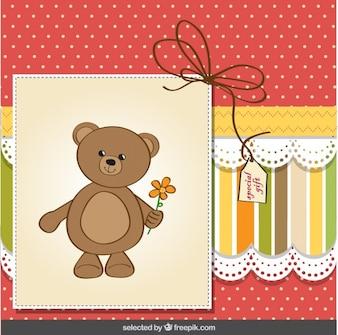 Cartão bonito do urso de peluche