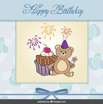 Cartão de aniversário bonito do urso de peluche