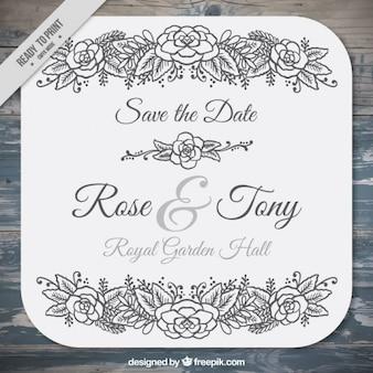 Cartão de casamento do vintage com mão desenhada detalhes florais