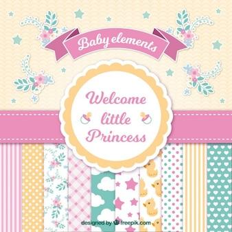 Cartão do chuveiro de bebê para a menina