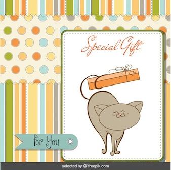 Cartão do presente com gato feliz