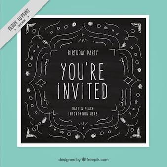 Cartão preto para o aniversário