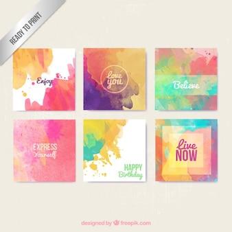 Cartões Aguarela no estilo colorido