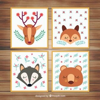 Cartões animais com elementos florais