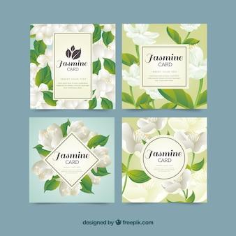 Cartões bonitos com jasmim