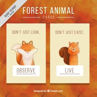 Cartões bonitos de animais da floresta aguarela