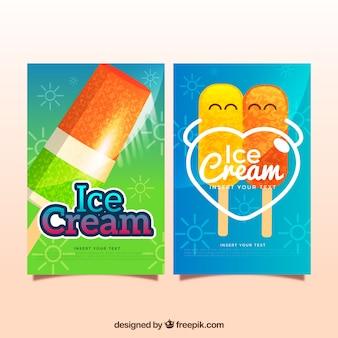 Cartões coloridos do gelado no projeto realista