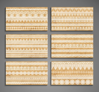 Cartões com ornamento étnicos