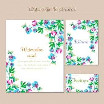 Cartões de aguarela com flores de verão