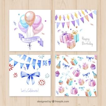 Cartões de aniversário Aquarela