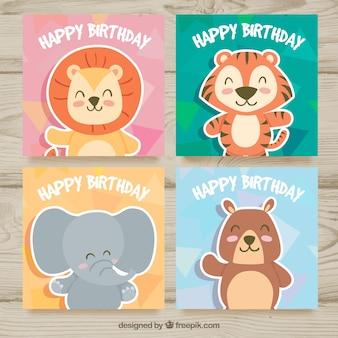 Cartões de aniversário com animais engraçados