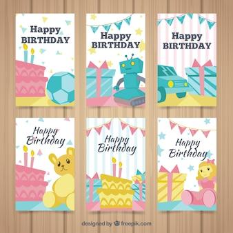 Cartões de aniversário com coleção de brinquedos