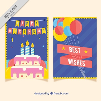 Cartões de aniversário com detalhes amarelos