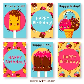 Cartões de aniversário com sorvete