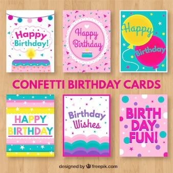Cartões de aniversário Confetti