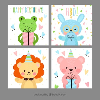 Cartões de aniversário infantis com animais felizes