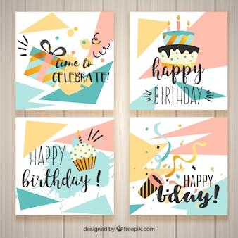 Cartões de aniversário modernos
