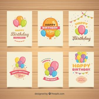 Cartões de aniversário retro