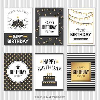 Cartões de aniversário vintage elegantes com detalhes dourados