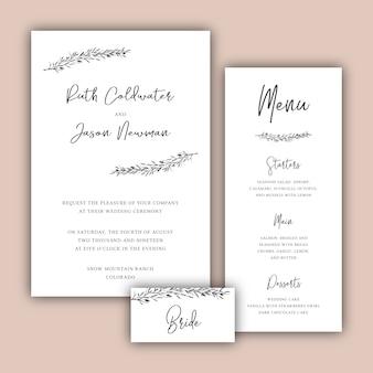 Cartões de casamento minimalistas com ilustrações botânicas