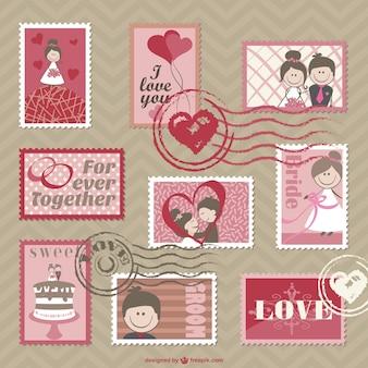 Cartões de casamento vetor dos desenhos animados