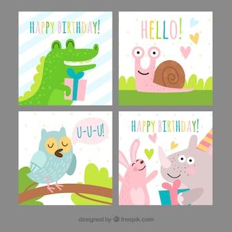 Cartões de festa de aniversário com animais