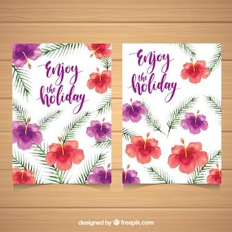 Cartões de flores de aquarela