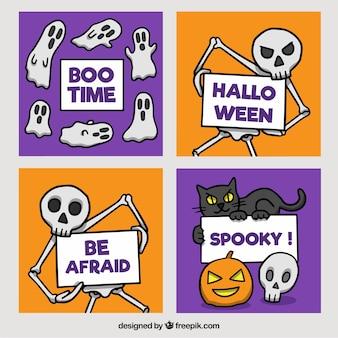 Cartões de Halloween com esqueleto engraçado