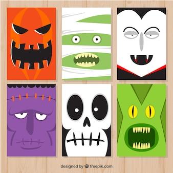 Cartões de Halloween com monstros engraçados