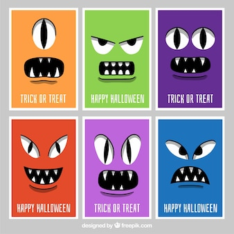 Cartões de Halloween com rostos de monstros