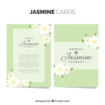 Cartões de jasmim verde