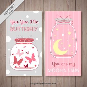 Cartões de mensagem romântica no estilo do vintage
