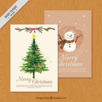 Cartões de Natal com uma árvore de abeto e um boneco de neve