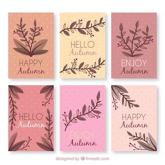 Cartões de outono florais