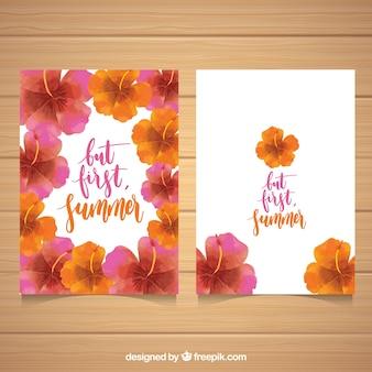 Cartões de verão com belas flores de aguarela