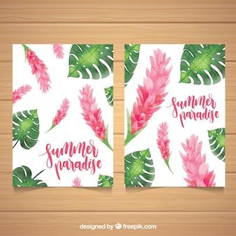 Cartões de verão com flores de aguarela