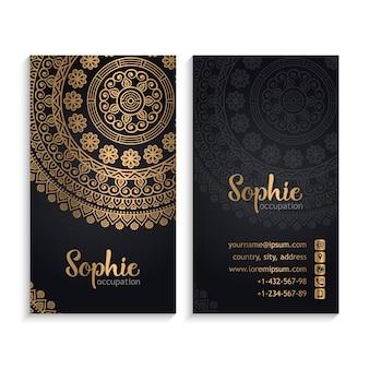 Cartões de visita do vetor Elementos decorativos do vintage com mandala